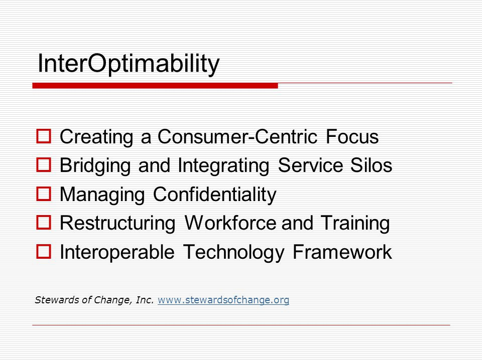 InterOptimability  Creating a Consumer-Centric Focus  Bridging and Integrating Service Silos  Managing Confidentiality  Restructuring Workforce and Training  Interoperable Technology Framework Stewards of Change, Inc.