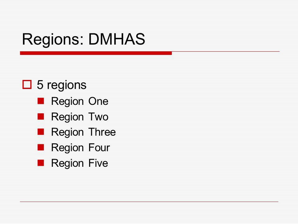 Regions: DMHAS  5 regions Region One Region Two Region Three Region Four Region Five