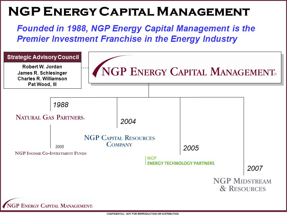 CONFIDENTIAL: NOT FOR REPRODUCTION OR DISTRIBUTION NGP Energy Capital Management Founded in 1988, NGP Energy Capital Management is the Premier Investm