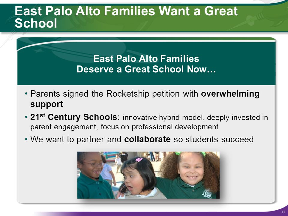 14 East Palo Alto Families Want a Great School East Palo Alto Families Deserve a Great School Now… Parents signed the Rocketship petition with overwhelming support 21 st Century Schools: innovative hybrid model, deeply invested in parent engagement, focus on professional development We want to partner and collaborate so students succeed
