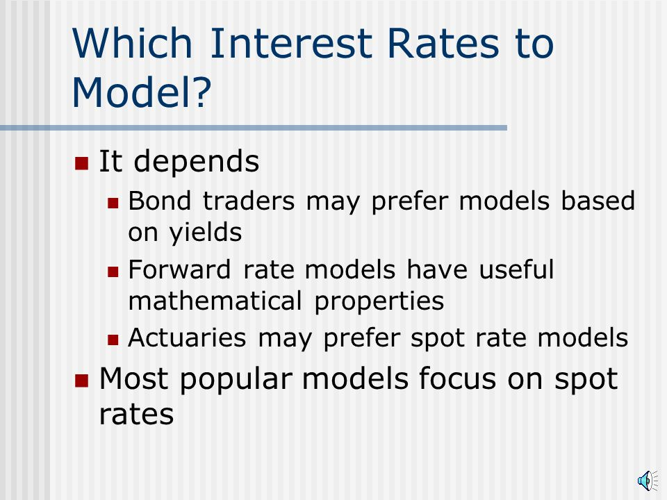 Summary Various types of interest rates Spot Yield Forward Relationships between interest rates Make sure that you know what interest rate is being referenced Be careful about which rates are being modeled