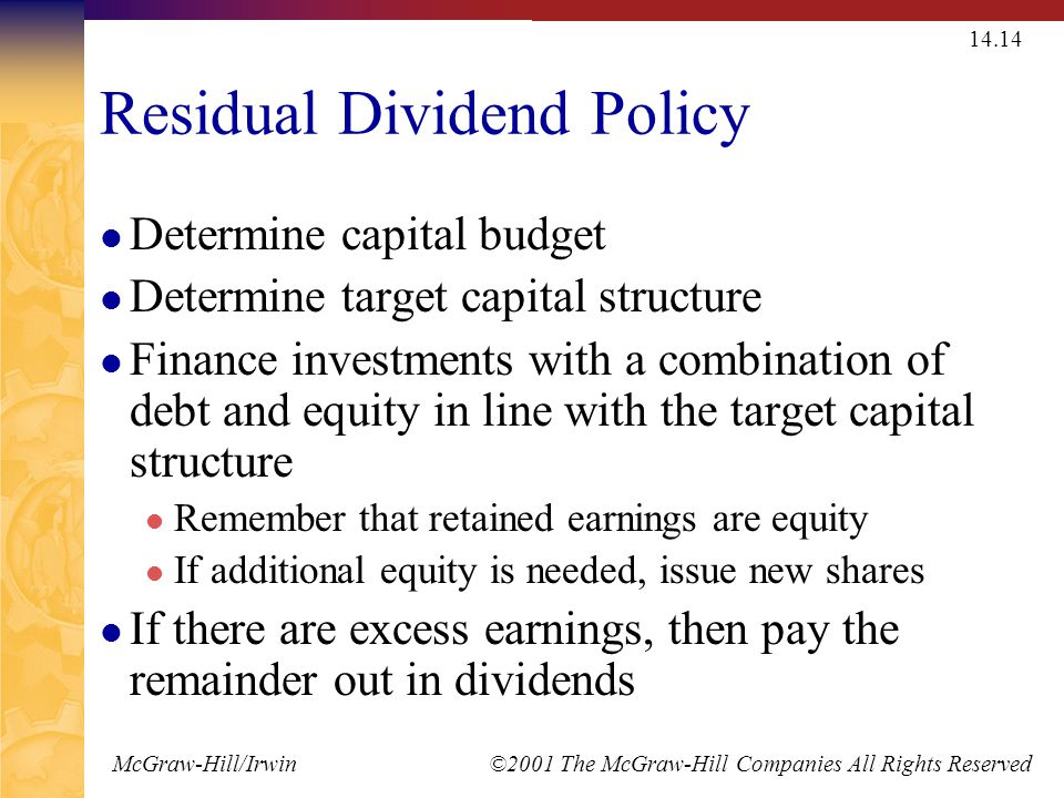 McGraw-Hill/Irwin ©2001 The McGraw-Hill Companies All Rights Reserved 14.14 Residual Dividend Policy Determine capital budget Determine target capital structure Finance investments with a combination of debt and equity in line with the target capital structure Remember that retained earnings are equity If additional equity is needed, issue new shares If there are excess earnings, then pay the remainder out in dividends