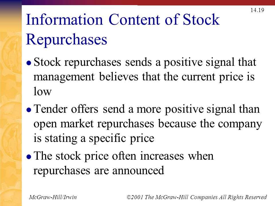 McGraw-Hill/Irwin ©2001 The McGraw-Hill Companies All Rights Reserved 14.19 Information Content of Stock Repurchases Stock repurchases sends a positiv