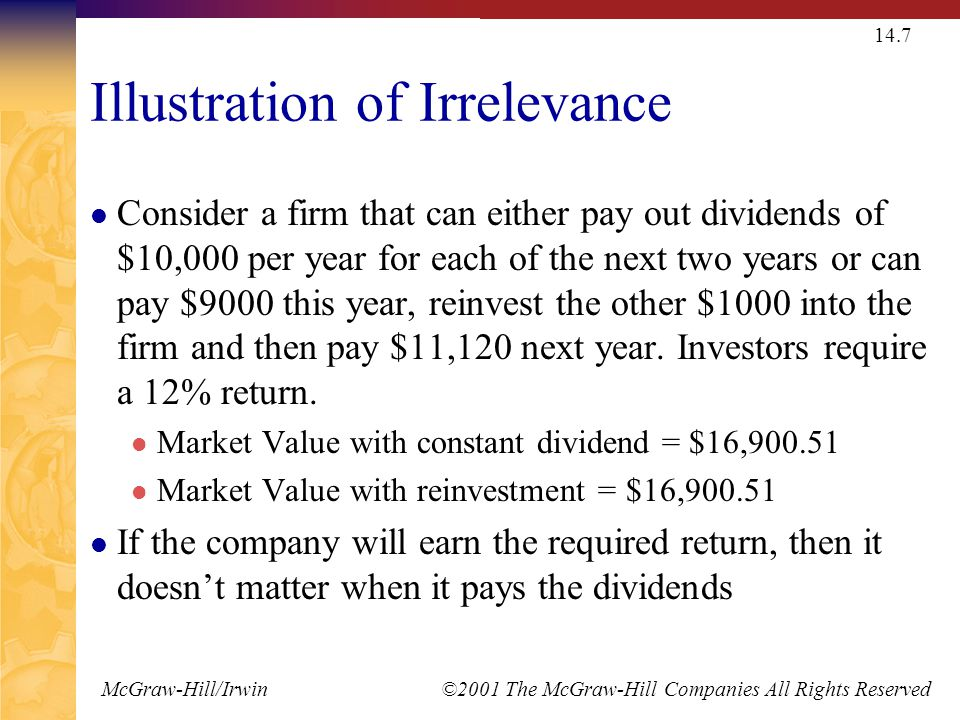 McGraw-Hill/Irwin ©2001 The McGraw-Hill Companies All Rights Reserved 14.7 Illustration of Irrelevance Consider a firm that can either pay out dividen