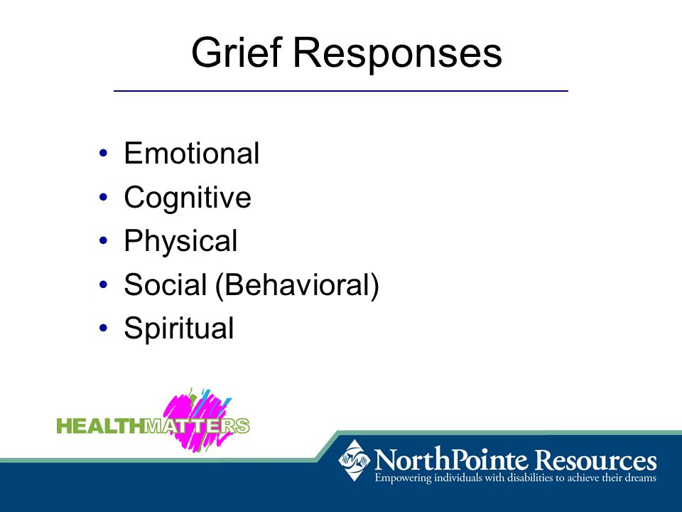 Emotional Cognitive Physical Social (Behavioral) Spiritual Grief Responses