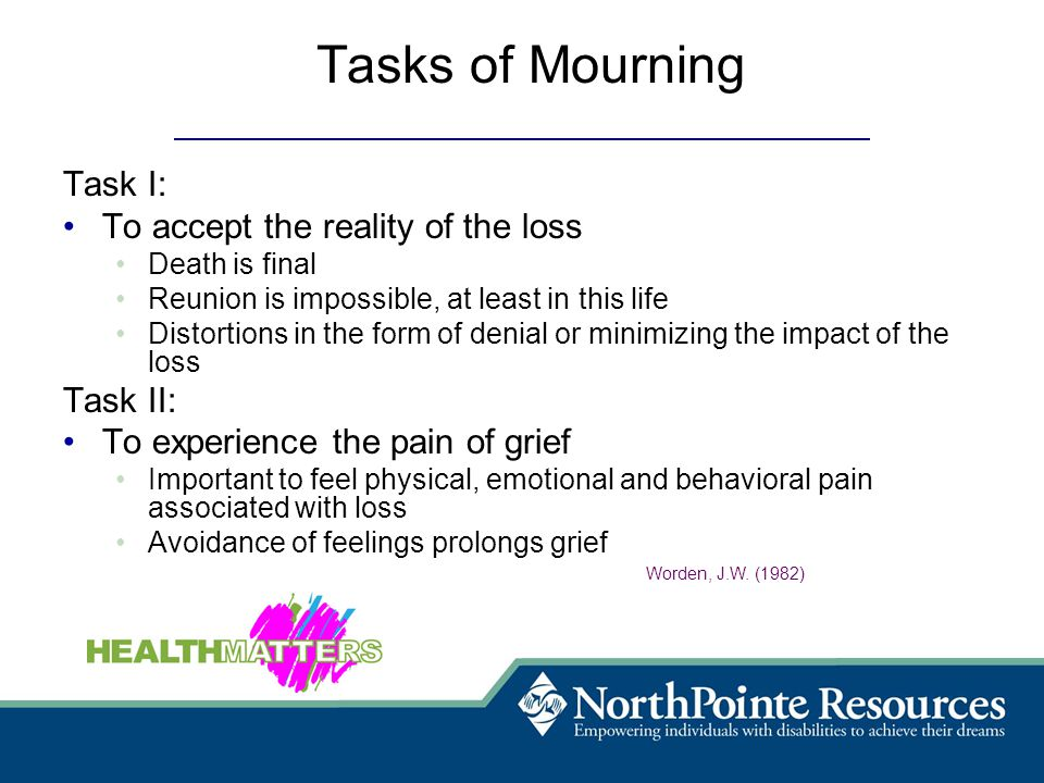 Tasks of Mourning Task I: To accept the reality of the loss Death is final Reunion is impossible, at least in this life Distortions in the form of denial or minimizing the impact of the loss Task II: To experience the pain of grief Important to feel physical, emotional and behavioral pain associated with loss Avoidance of feelings prolongs grief Worden, J.W.