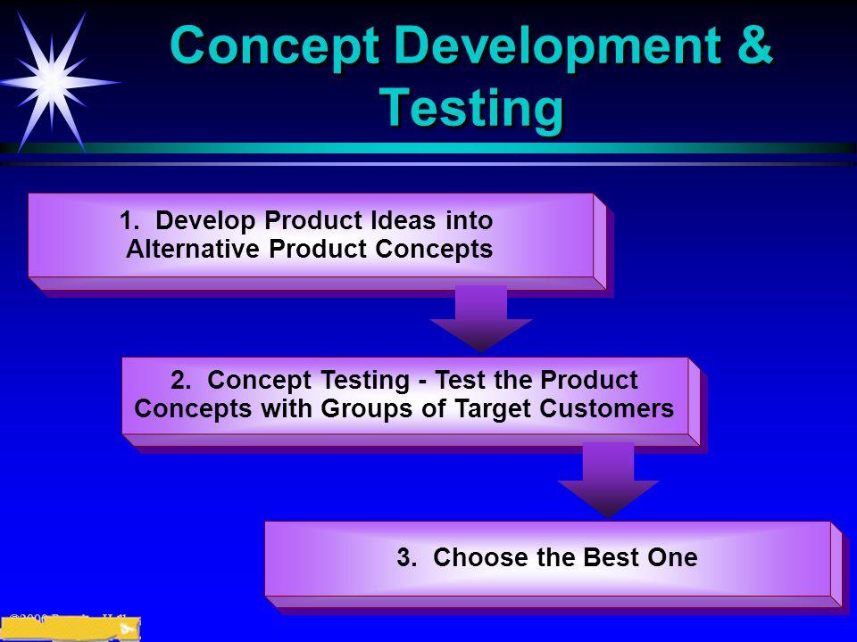 ©2000 Prentice Hall Concept Development & Testing 1. Develop Product Ideas into Alternative Product Concepts 1. Develop Product Ideas into Alternative