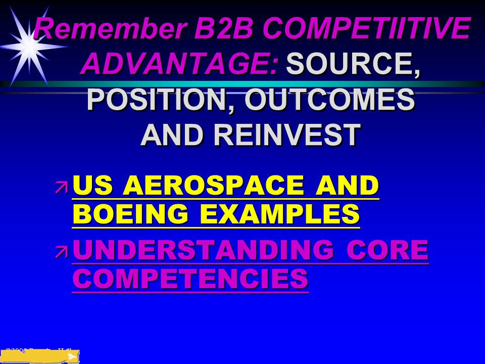 ©2000 Prentice Hall Remember B2B COMPETIITIVE ADVANTAGE: SOURCE, POSITION, OUTCOMES AND REINVEST ä US AEROSPACE AND BOEING EXAMPLES ä UNDERSTANDING CORE COMPETENCIES