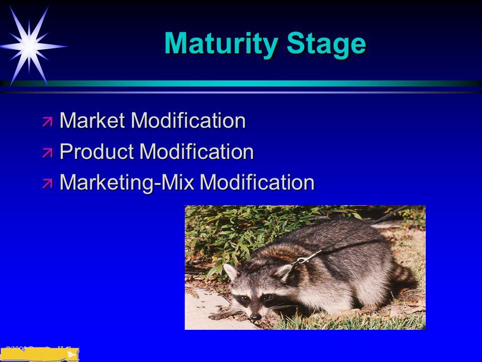 ©2000 Prentice Hall Maturity Stage ä Market Modification ä Product Modification ä Marketing-Mix Modification
