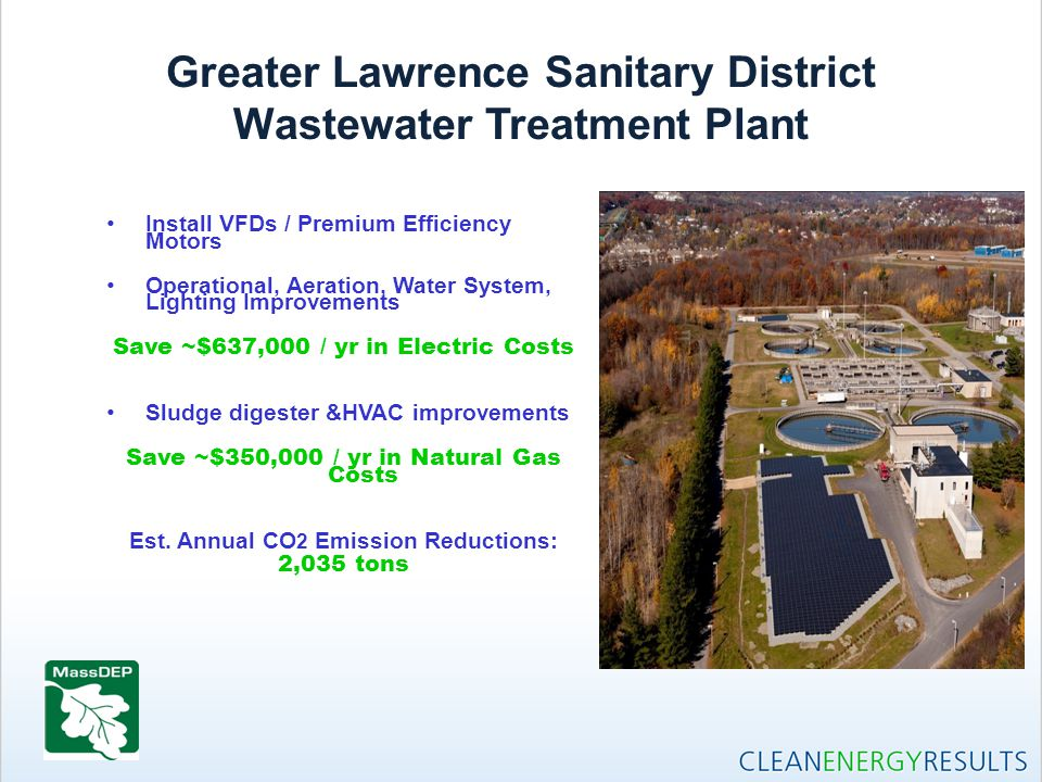 Greater Lawrence Sanitary District Wastewater Treatment Plant Install VFDs / Premium Efficiency Motors Operational, Aeration, Water System, Lighting I