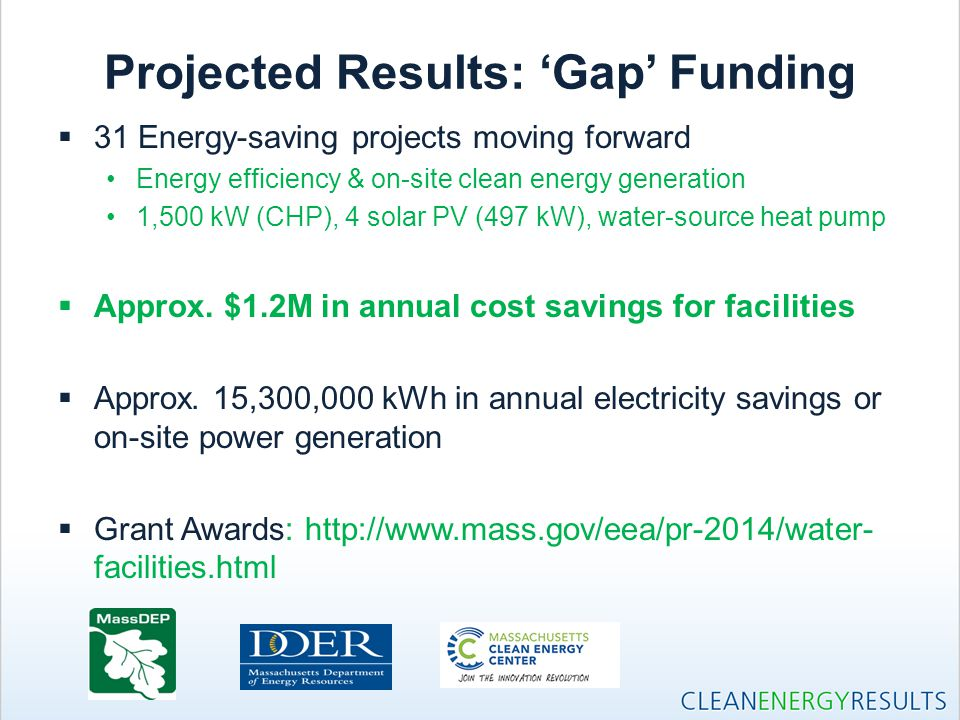 Projected Results: 'Gap' Funding  31 Energy-saving projects moving forward Energy efficiency & on-site clean energy generation 1,500 kW (CHP), 4 sola