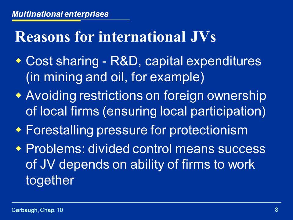 Carbaugh, Chap. 10 9 Effects of an international JV Multinational enterprises