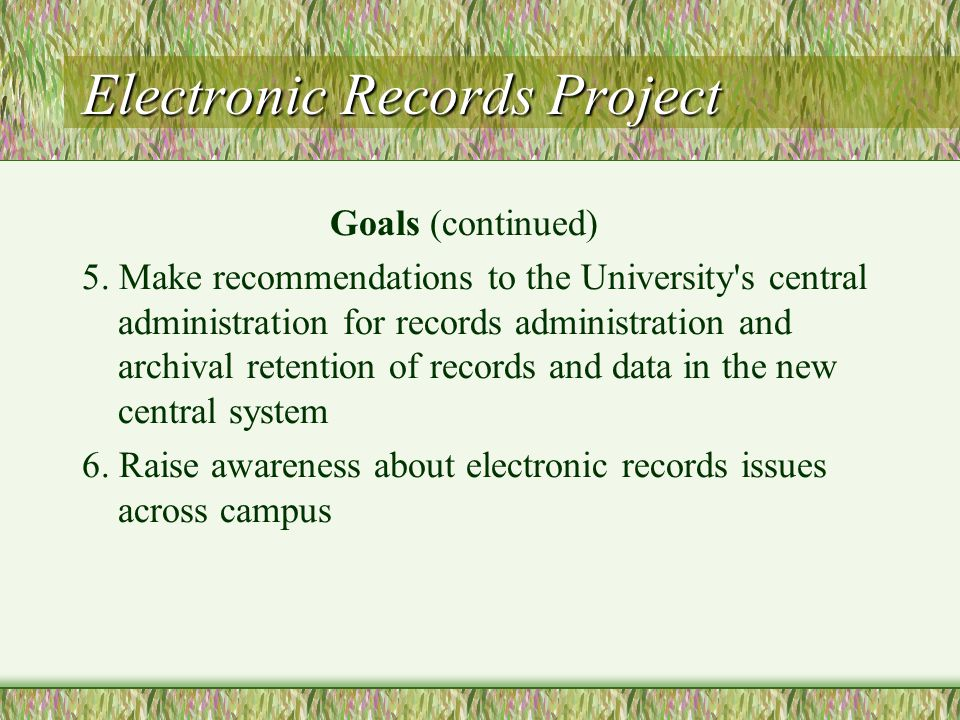 Electronic Records Project Goals (continued) 5.
