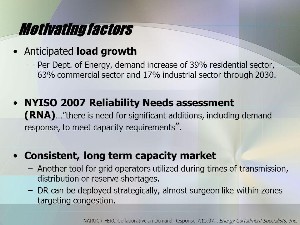 Motivating factors Anticipated load growth –Per Dept.