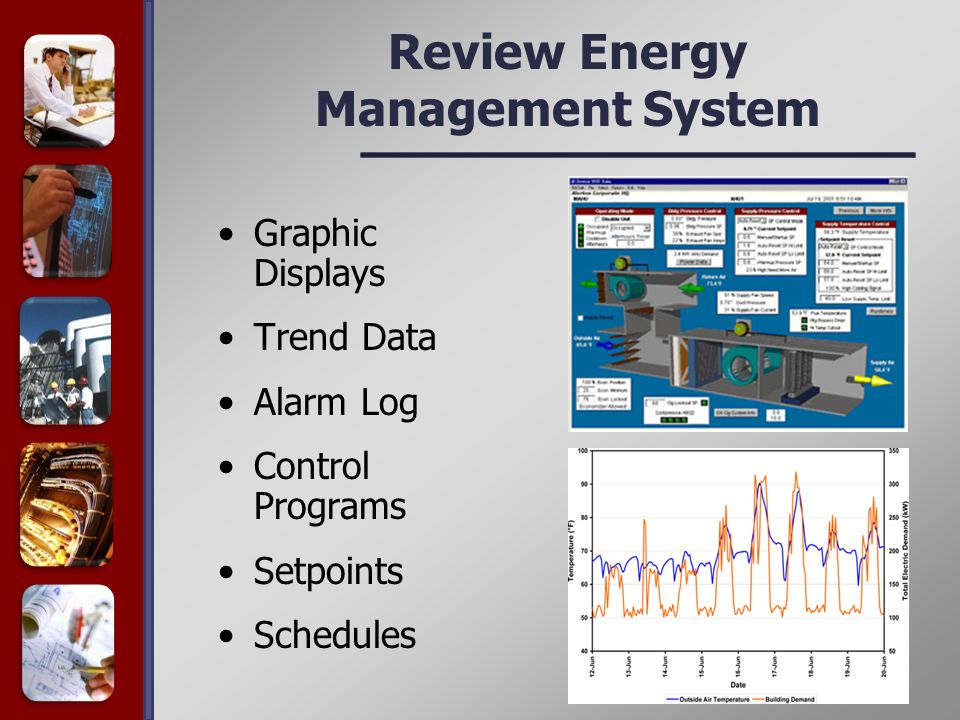 Review Energy Management System Graphic Displays Trend Data Alarm Log Control Programs Setpoints Schedules