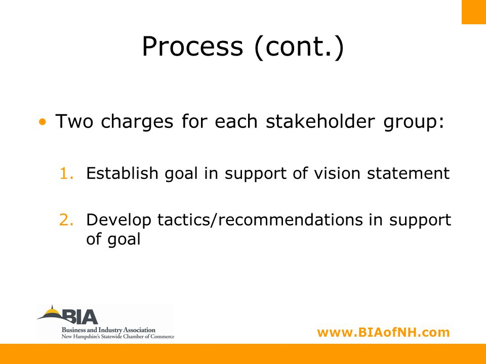 www.nhbia.org www.BIAofNH.com Process (cont.) Two charges for each stakeholder group: 1.Establish goal in support of vision statement 2.Develop tactics/recommendations in support of goal