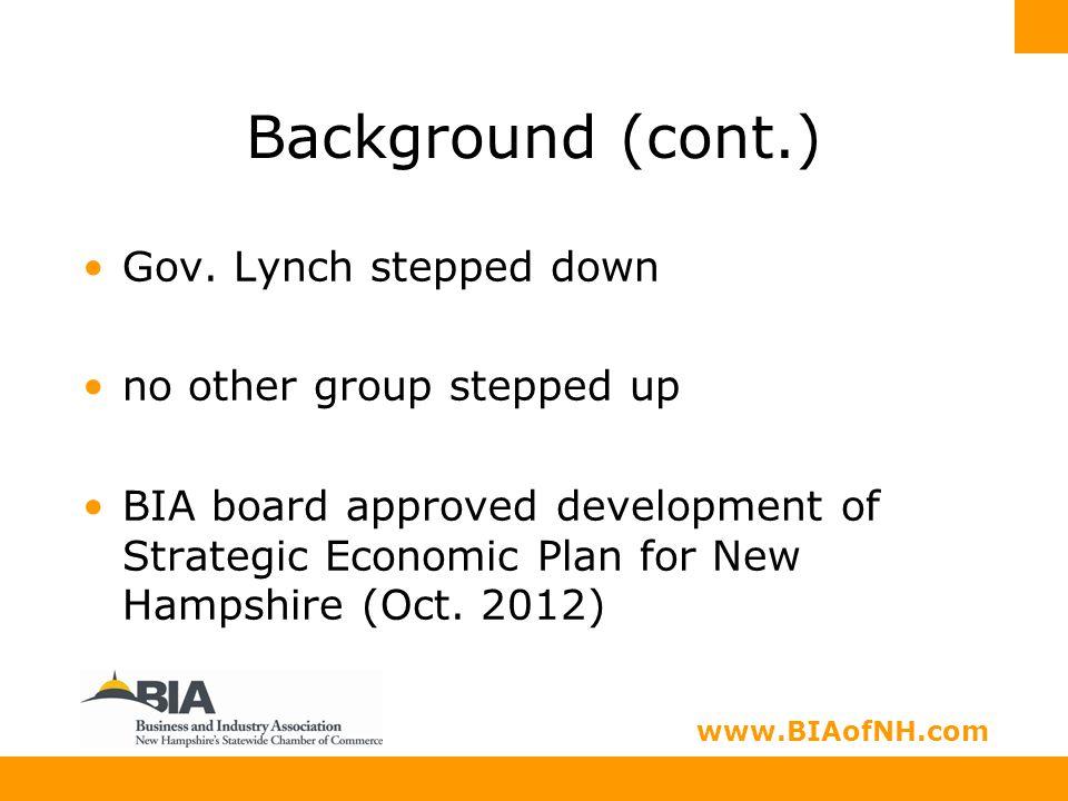 www.nhbia.org www.BIAofNH.com Background (cont.) Gov.