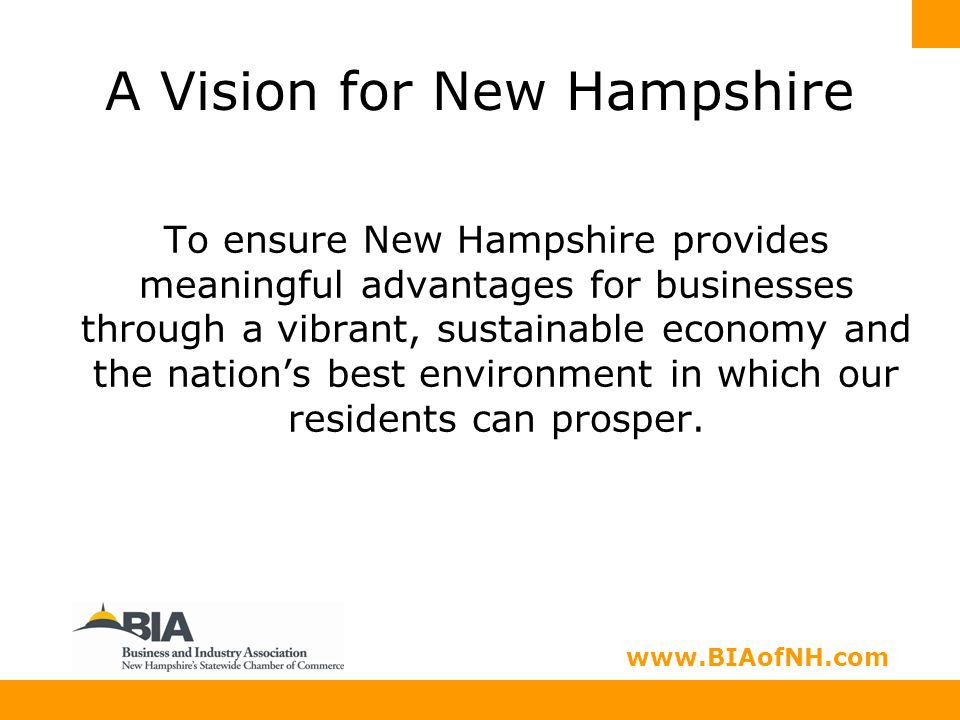www.nhbia.org www.BIAofNH.com A Vision for New Hampshire To ensure New Hampshire provides meaningful advantages for businesses through a vibrant, sustainable economy and the nation's best environment in which our residents can prosper.