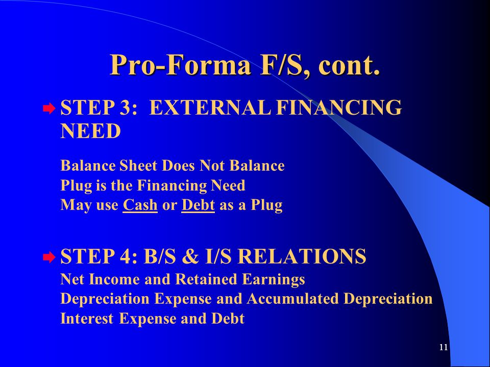 11 Pro-Forma F/S, cont.  STEP 3: EXTERNAL FINANCING NEED Balance Sheet Does Not Balance Plug is the Financing Need May use Cash or Debt as a Plug  S