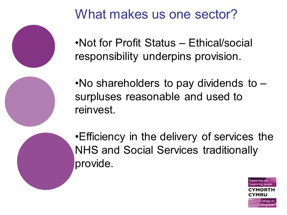 Not for Profit Status – Ethical/social responsibility underpins provision.