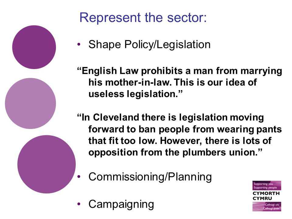 Shape Policy/Legislation English Law prohibits a man from marrying his mother-in-law.