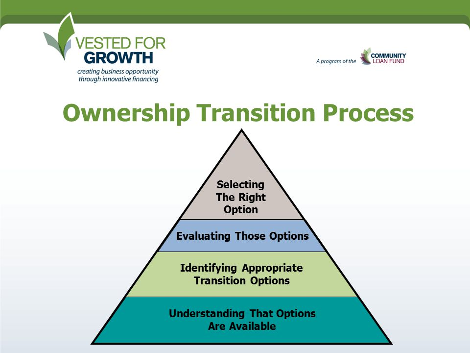 Ownership Transition Process Understanding That Options Are Available Identifying Appropriate Transition Options Evaluating Those Options Selecting The Right Option