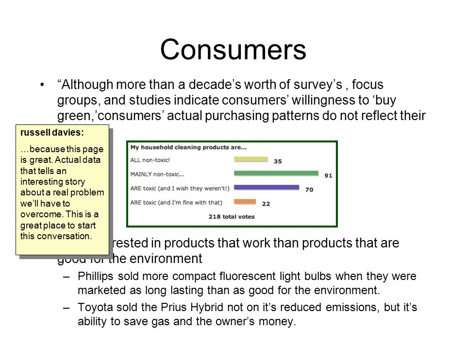 "Consumers ""Although more than a decade's worth of survey's, focus groups, and studies indicate consumers' willingness to 'buy green,'consumers' actual"