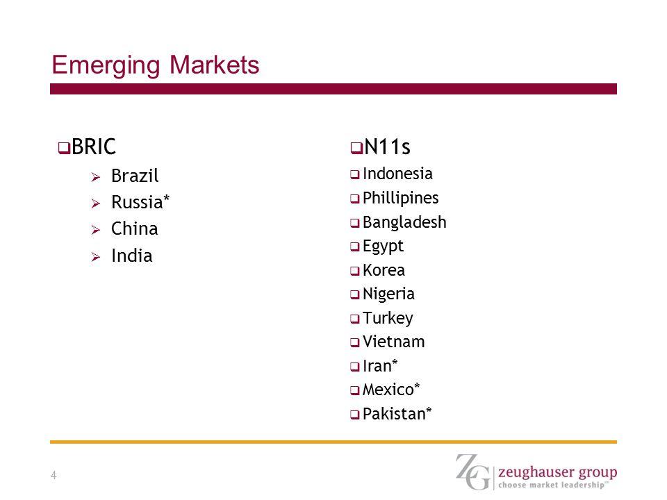 4 Emerging Markets  BRIC  Brazil  Russia*  China  India  N11s  Indonesia  Phillipines  Bangladesh  Egypt  Korea  Nigeria  Turkey  Vietnam  Iran*  Mexico*  Pakistan*