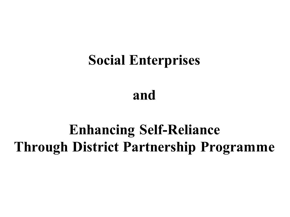 Social Enterprises and Enhancing Self-Reliance Through District Partnership Programme