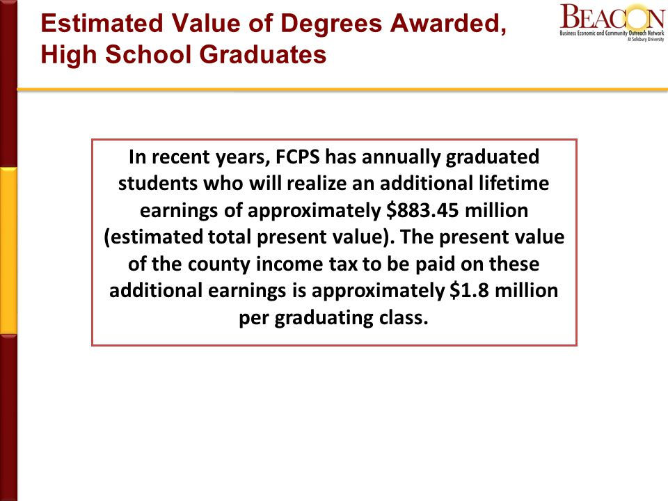 Estimated Value of Degrees Awarded, High School Graduates In recent years, FCPS has annually graduated students who will realize an additional lifetime earnings of approximately $ million (estimated total present value).