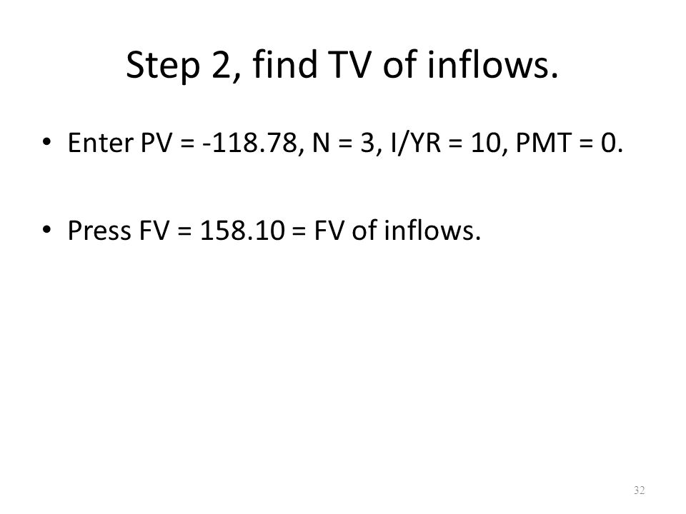 32 Step 2, find TV of inflows. Enter PV = -118.78, N = 3, I/YR = 10, PMT = 0.