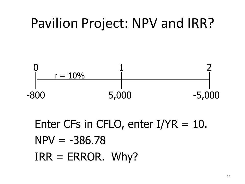 38 Pavilion Project: NPV and IRR. 5,000-5,000 012 r = 10% -800 Enter CFs in CFLO, enter I/YR = 10.