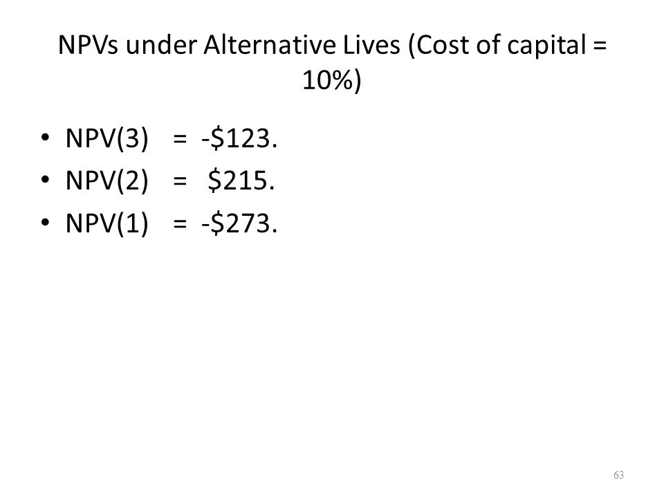 63 NPVs under Alternative Lives (Cost of capital = 10%) NPV(3)= -$123. NPV(2)= $215. NPV(1)= -$273.