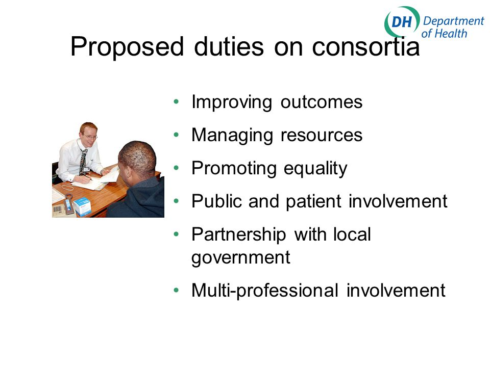 Proposed duties on consortia Improving outcomes Managing resources Promoting equality Public and patient involvement Partnership with local government Multi-professional involvement