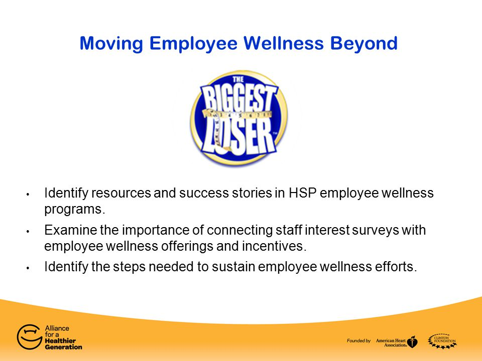 Identify resources and success stories in HSP employee wellness programs. Examine the importance of connecting staff interest surveys with employee we