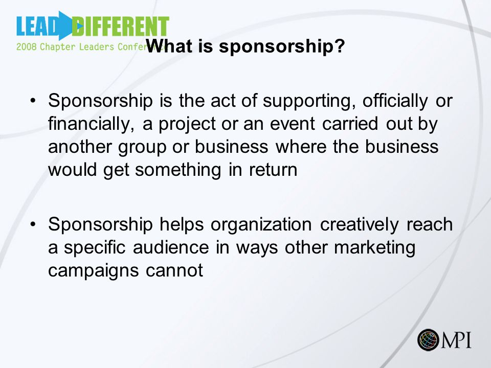 What is sponsorship.