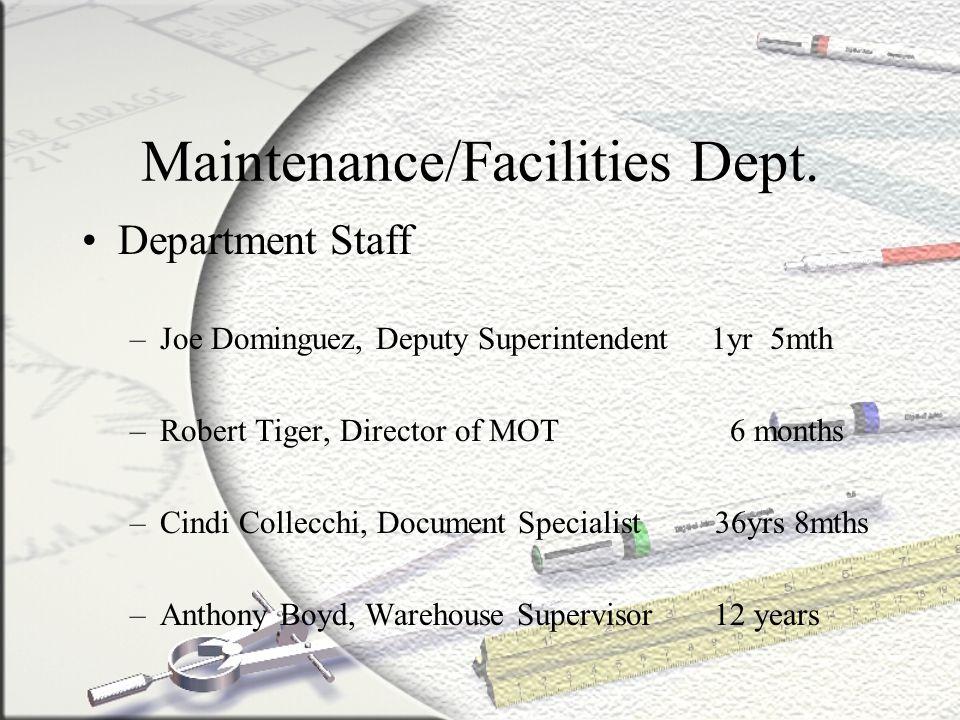 Maintenance/Facilities Dept. Department Staff –Joe Dominguez, Deputy Superintendent 1yr 5mth –Robert Tiger, Director of MOT 6 months –Cindi Collecchi,