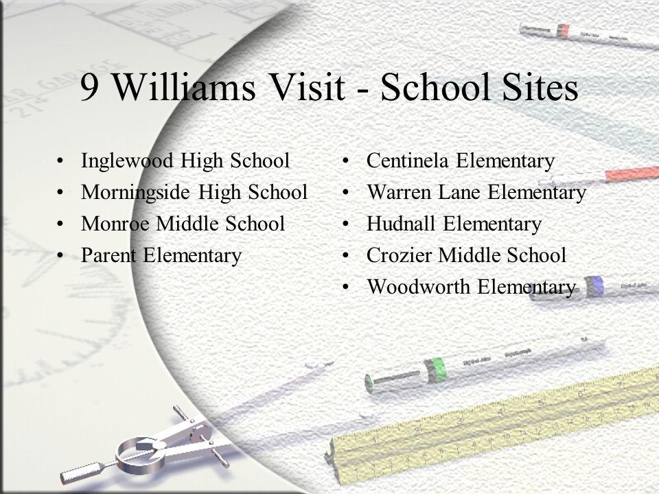 9 Williams Visit - School Sites Inglewood High School Morningside High School Monroe Middle School Parent Elementary Centinela Elementary Warren Lane