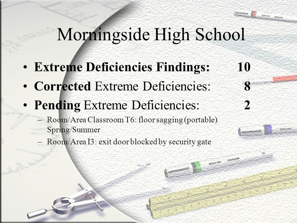 Monroe Middle School Extreme Deficiencies Findings: 5 Corrected Extreme Deficiencies: 3 Pending Extreme Deficiencies: 2 –Room/Area Kitchen/MPR: Stage/Storage Area (2) – 1/27 Open wall severe damage, several studs damaged missing, floor damaged/cracked, ceiling tiles damaged/stained/missing, plaster/paint damaged –Room/Area Classroom A3: cracks, deterioration, eroded soil