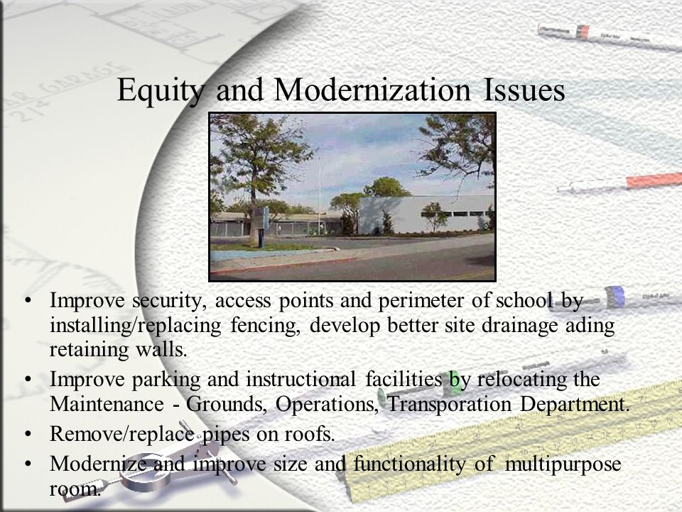Equity and Modernization Issues Improve security, access points and perimeter of school by installing/replacing fencing, develop better site drainage