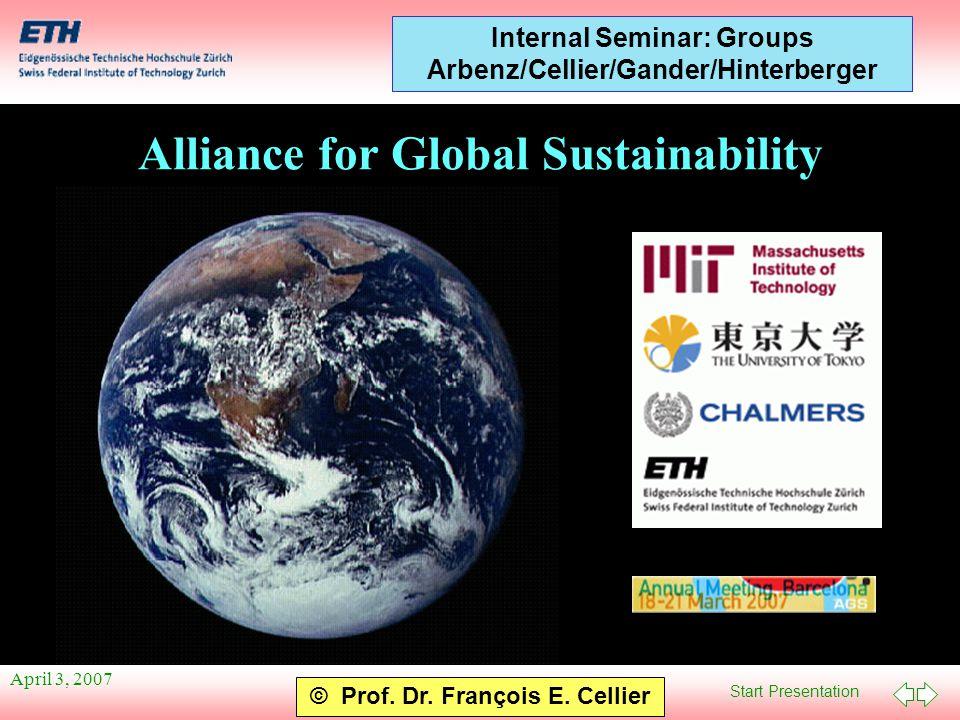 Start Presentation © Prof. Dr. François E. Cellier Internal Seminar: Groups Arbenz/Cellier/Gander/Hinterberger April 3, 2007 Alliance for Global Susta