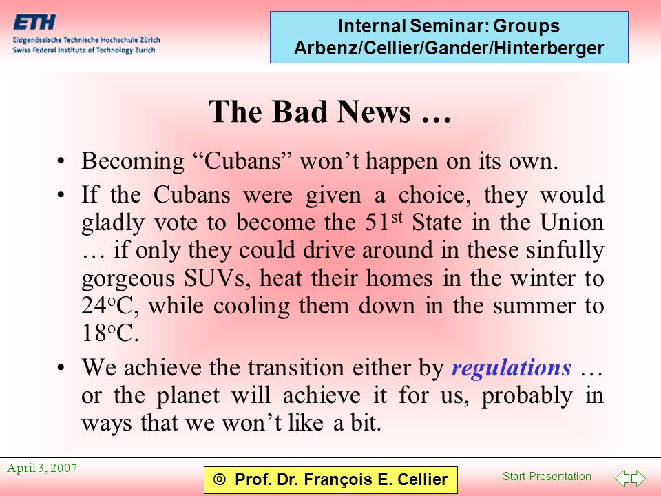 "Start Presentation © Prof. Dr. François E. Cellier Internal Seminar: Groups Arbenz/Cellier/Gander/Hinterberger April 3, 2007 The Bad News … Becoming """