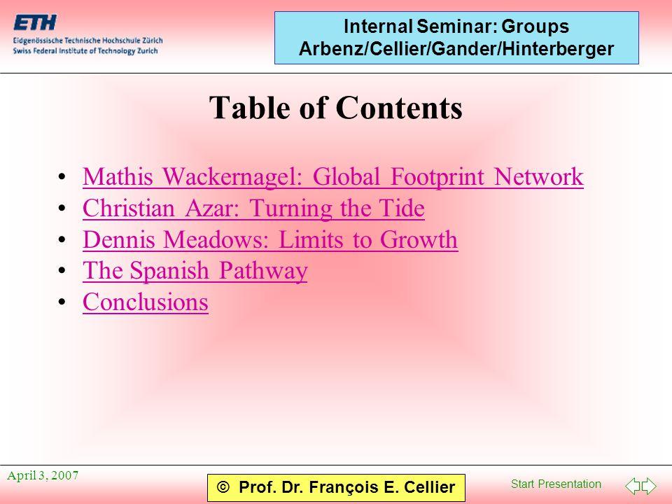 Start Presentation © Prof. Dr. François E. Cellier Internal Seminar: Groups Arbenz/Cellier/Gander/Hinterberger April 3, 2007 Table of Contents Mathis