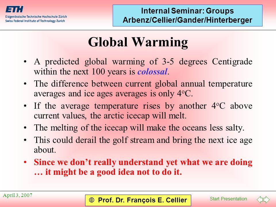 Start Presentation © Prof. Dr. François E. Cellier Internal Seminar: Groups Arbenz/Cellier/Gander/Hinterberger April 3, 2007 Global Warming A predicte