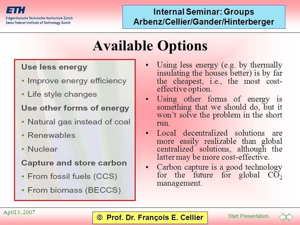 Start Presentation © Prof. Dr. François E. Cellier Internal Seminar: Groups Arbenz/Cellier/Gander/Hinterberger April 3, 2007 Available Options Using l