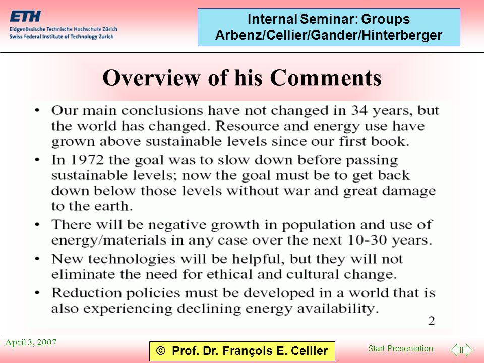 Start Presentation © Prof. Dr. François E. Cellier Internal Seminar: Groups Arbenz/Cellier/Gander/Hinterberger April 3, 2007 Overview of his Comments