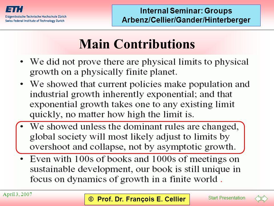Start Presentation © Prof. Dr. François E. Cellier Internal Seminar: Groups Arbenz/Cellier/Gander/Hinterberger April 3, 2007 Main Contributions