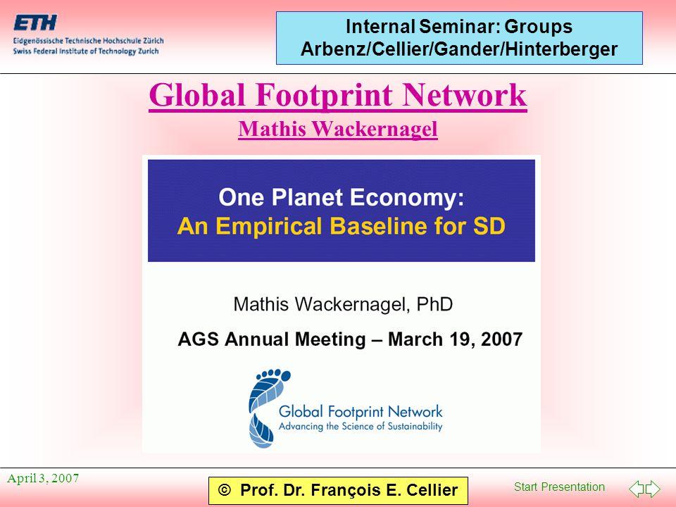 Start Presentation © Prof. Dr. François E. Cellier Internal Seminar: Groups Arbenz/Cellier/Gander/Hinterberger April 3, 2007 Global Footprint Network