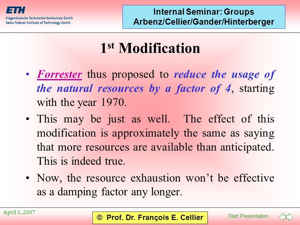Start Presentation © Prof. Dr. François E. Cellier Internal Seminar: Groups Arbenz/Cellier/Gander/Hinterberger April 3, 2007 1 st Modification Forrest