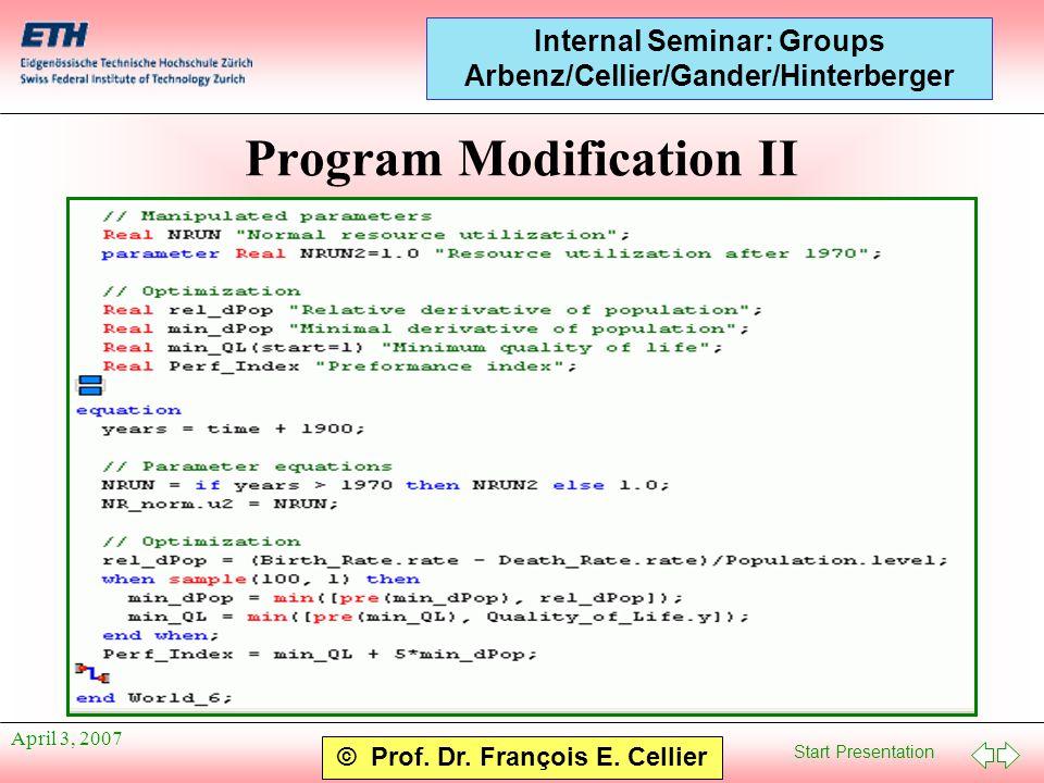 Start Presentation © Prof. Dr. François E. Cellier Internal Seminar: Groups Arbenz/Cellier/Gander/Hinterberger April 3, 2007 Program Modification II